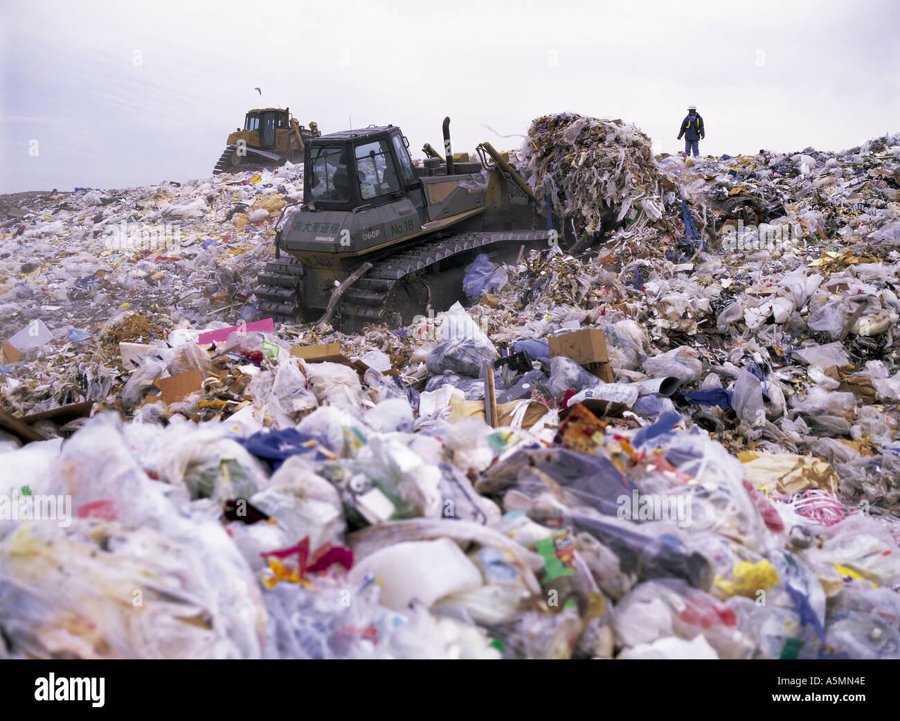Heiwajima garbage landfill site in Tokyo Bay Tokyo Japan - Stock Image