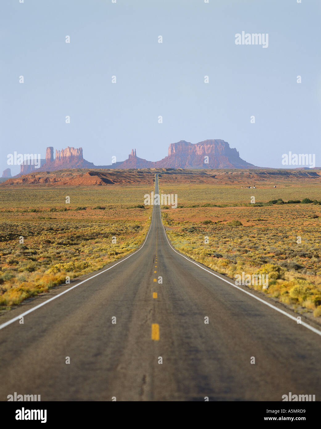 Straight highway in Monument Valley Utah UT USA - Stock Image