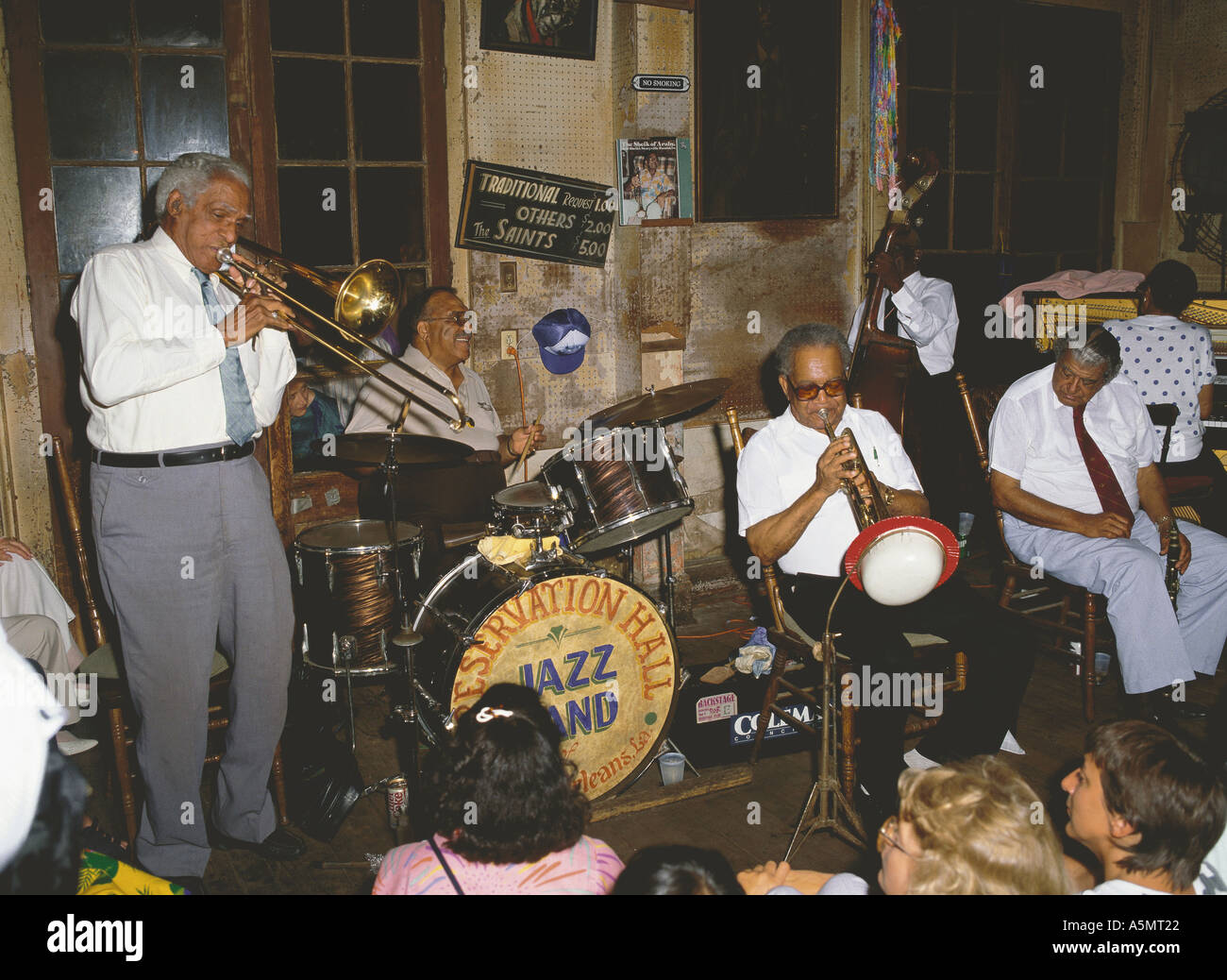 Jazz band playing at historic Preservation Hall on Bourbon Street New Orleans Louisiana USA - Stock Image