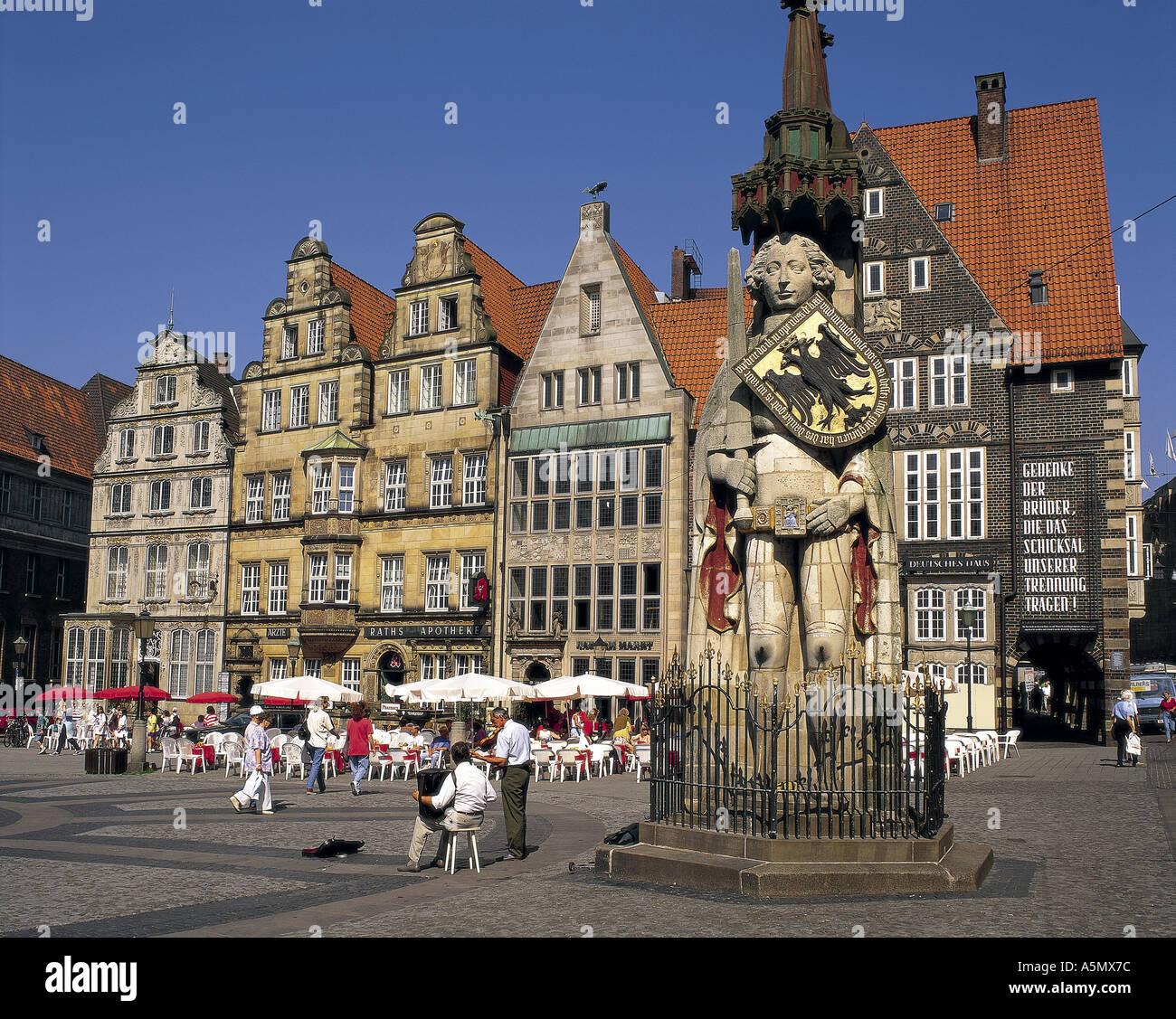 Statue of Roland Bremen Germany - Stock Image