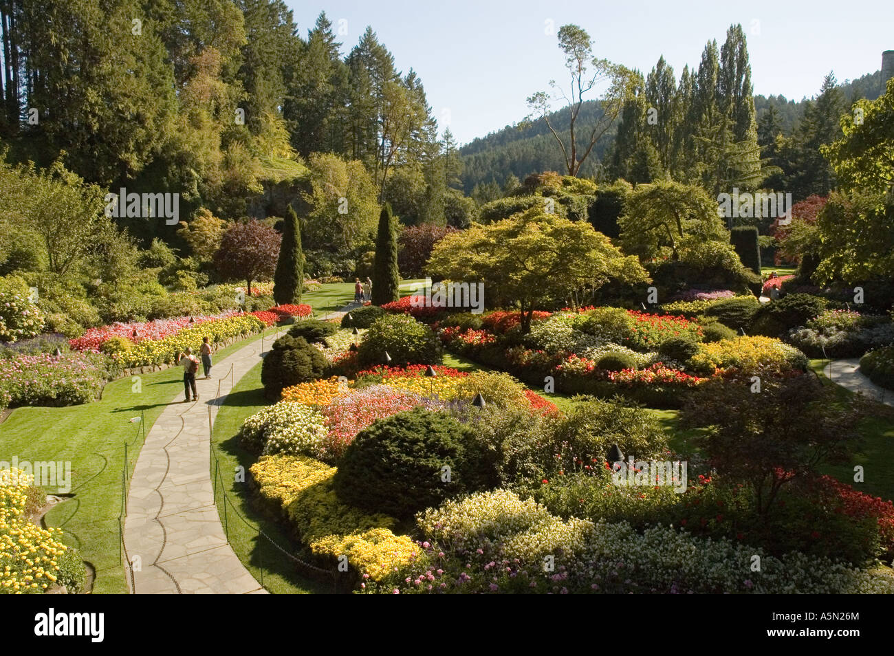 Sunken Garden at The Butchart Gardens on Vancouver Island near Stock ...