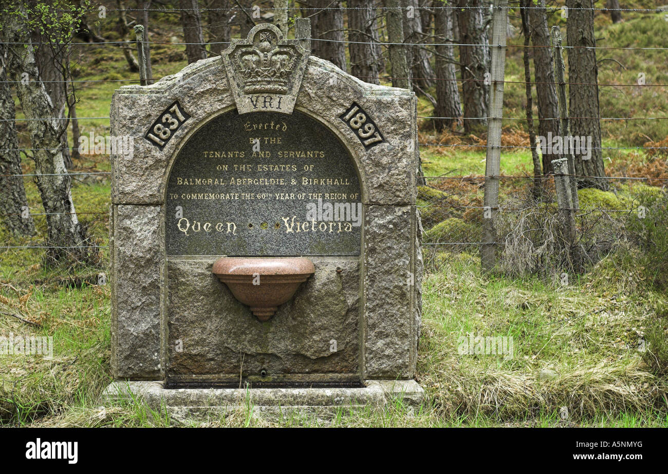 Drinking fountain on Balmoral Estate, near Ballater in Aberdeenshire. - Stock Image