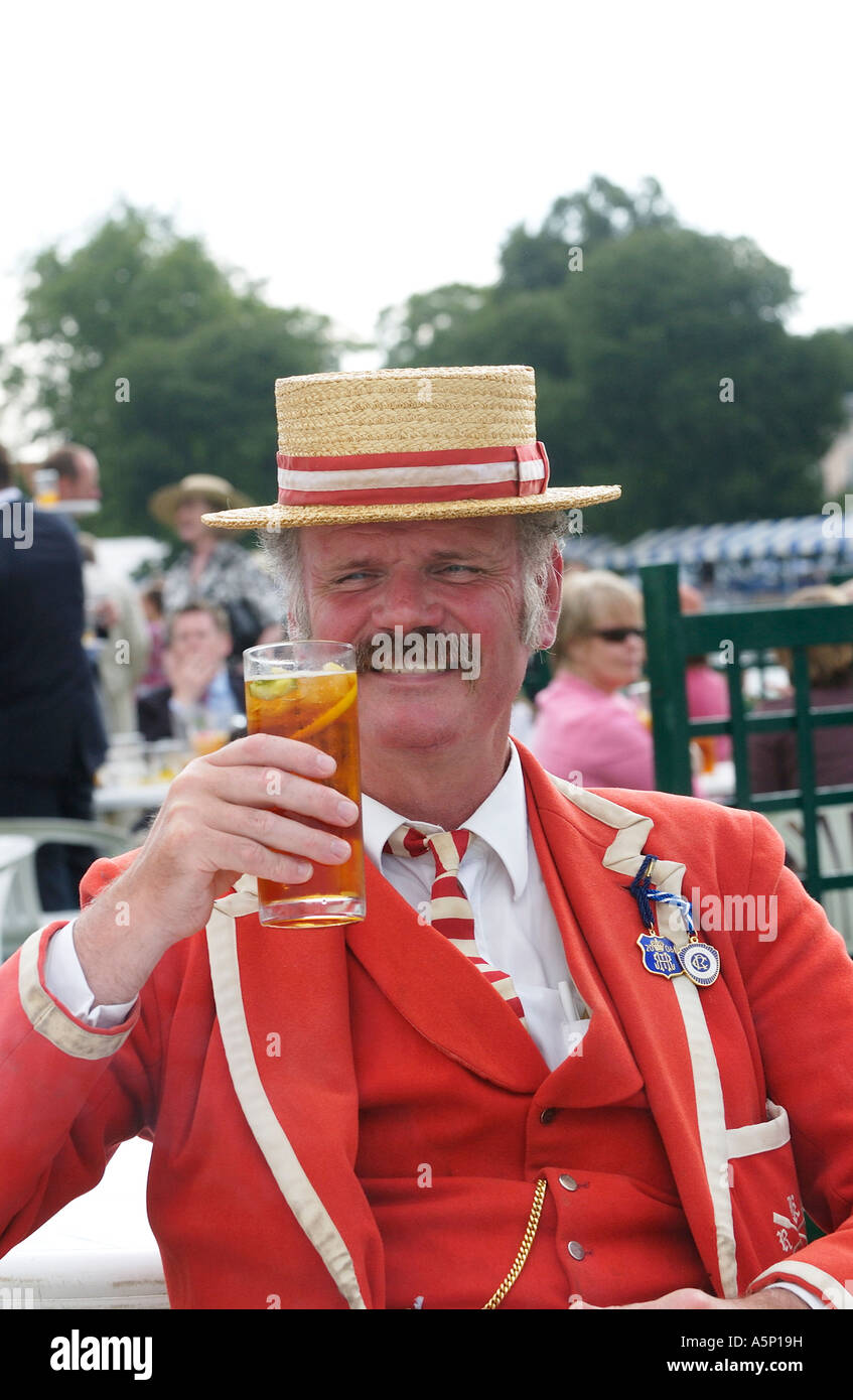 Spectator preserving the Edwardian traditions of dress  in the Stewards Enclosure Henley Royal Regatta, Henley-on - Stock Image
