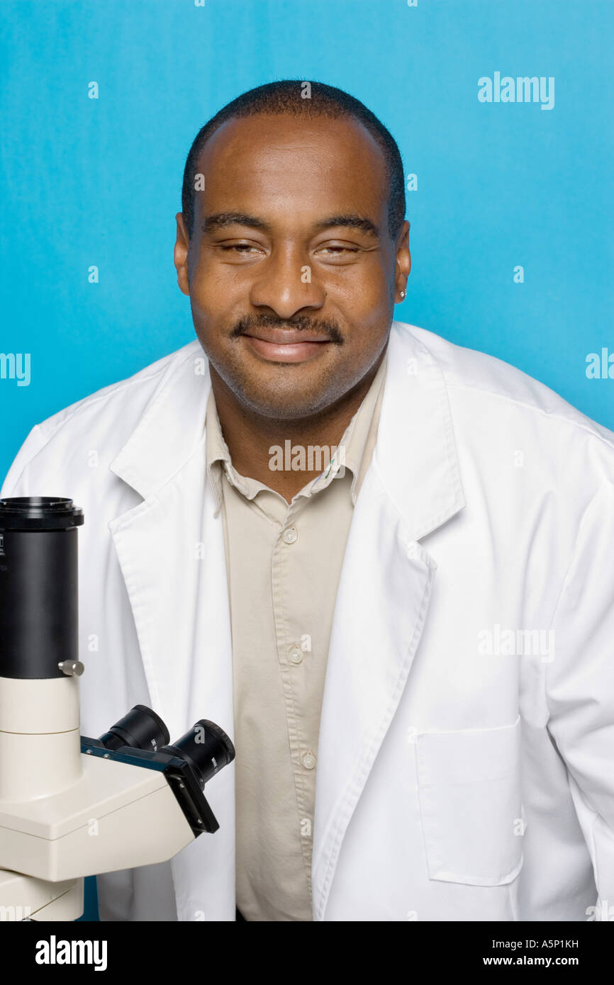 Medical technician with white lab coat. - Stock Image
