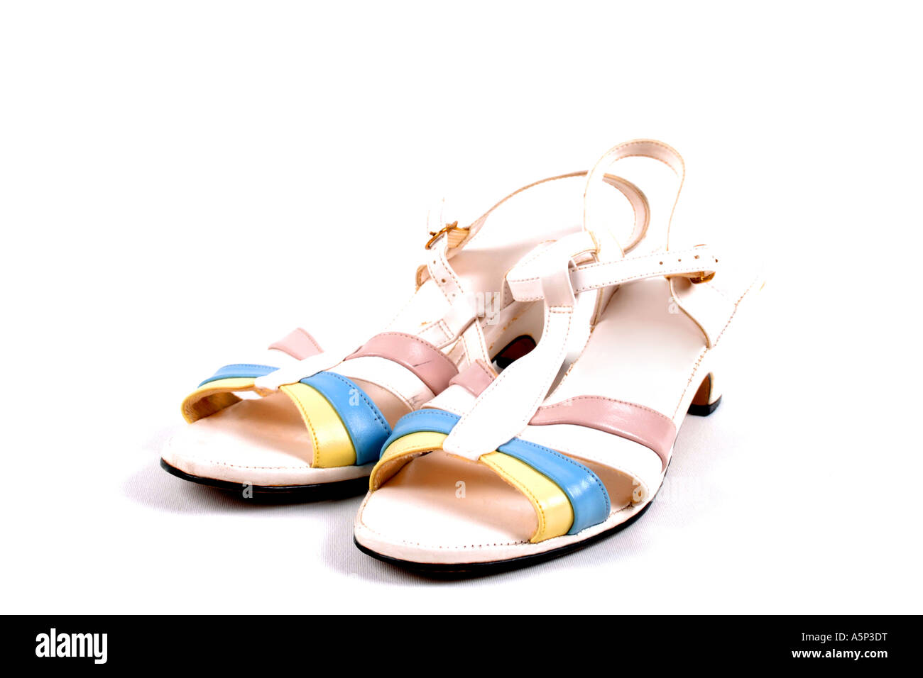 Womens multi colored Sandals. - Stock Image