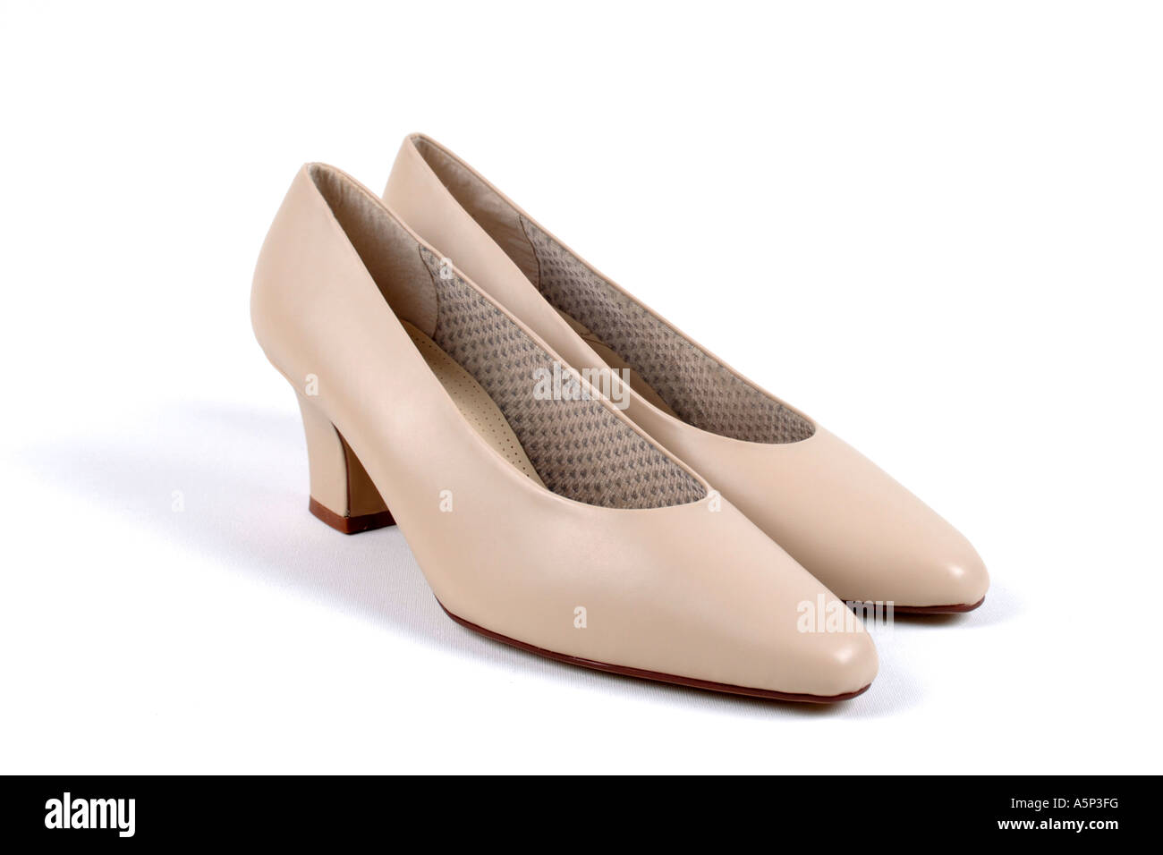 Womens Pale pink Leather Shoes. - Stock Image