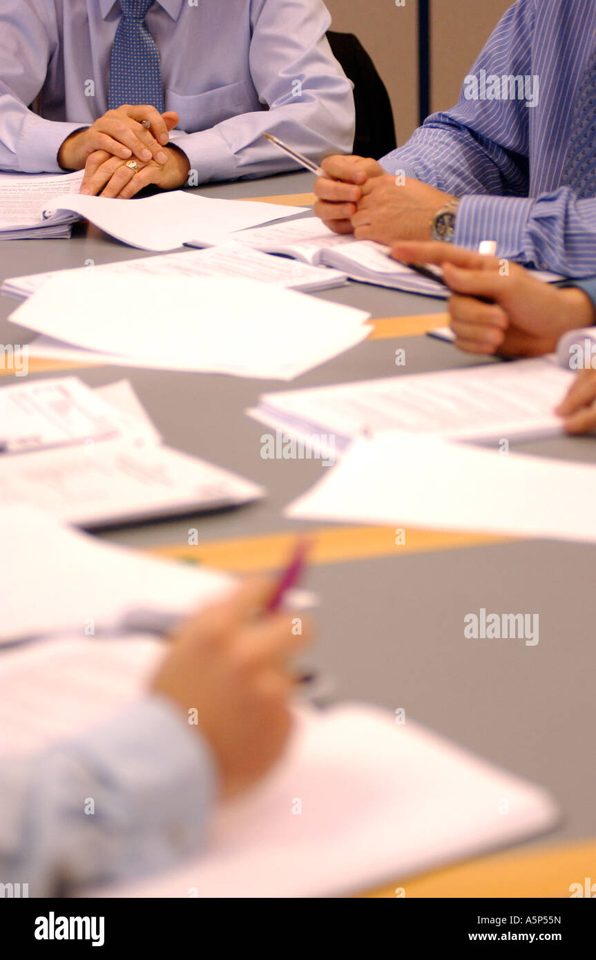 British business men hands in meeting London UK - Stock Image