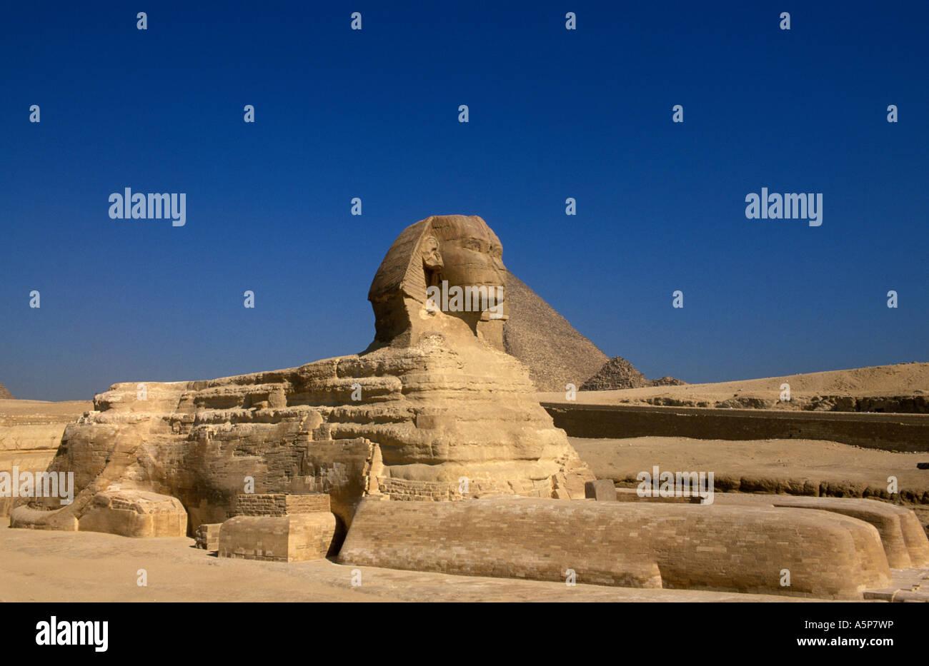 The Sphinx, Pyramids of Giza, Cairo, Egypt - Stock Image