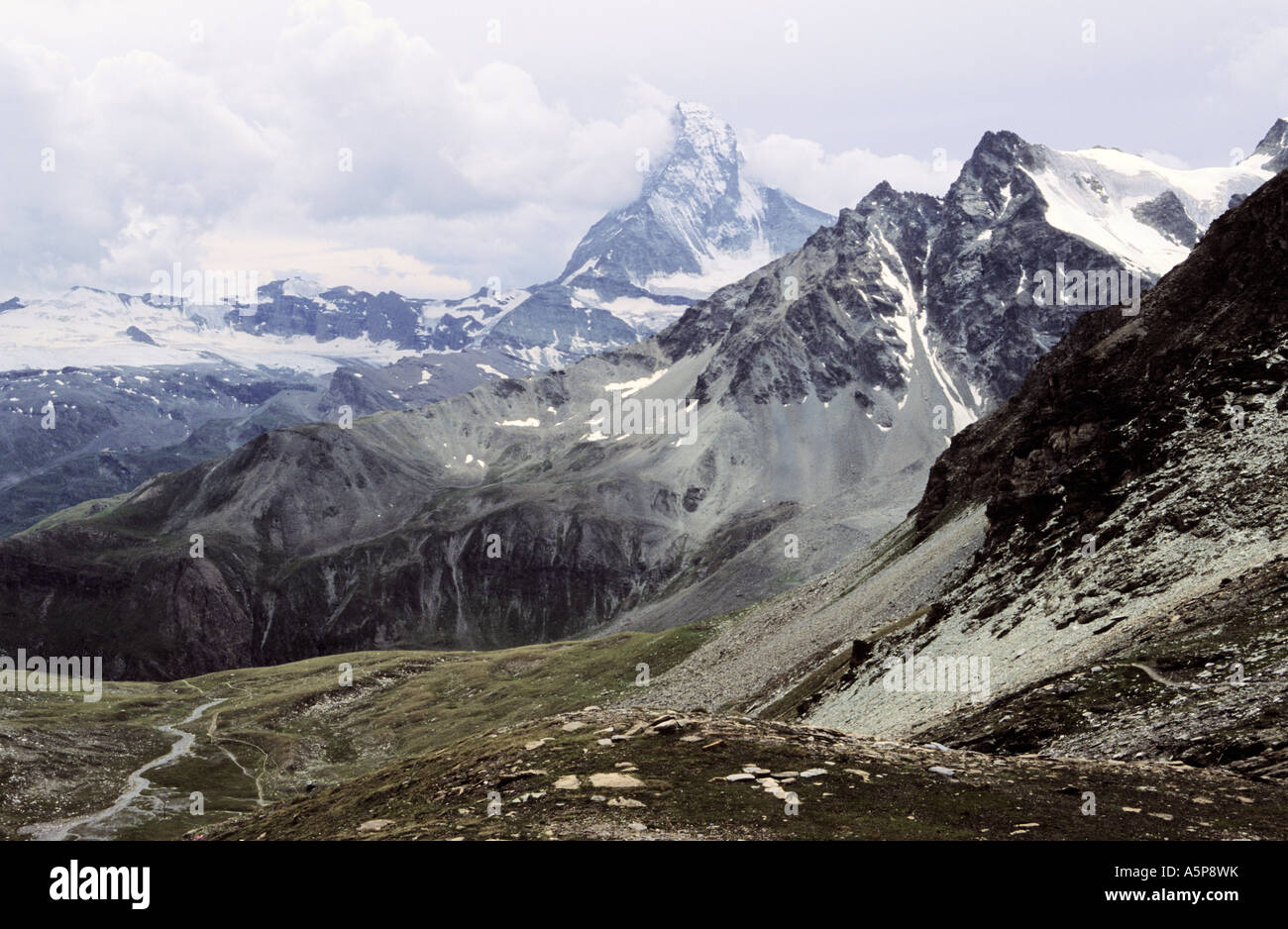 Gabelhorn and Matterhorn view from Trift - Stock Image