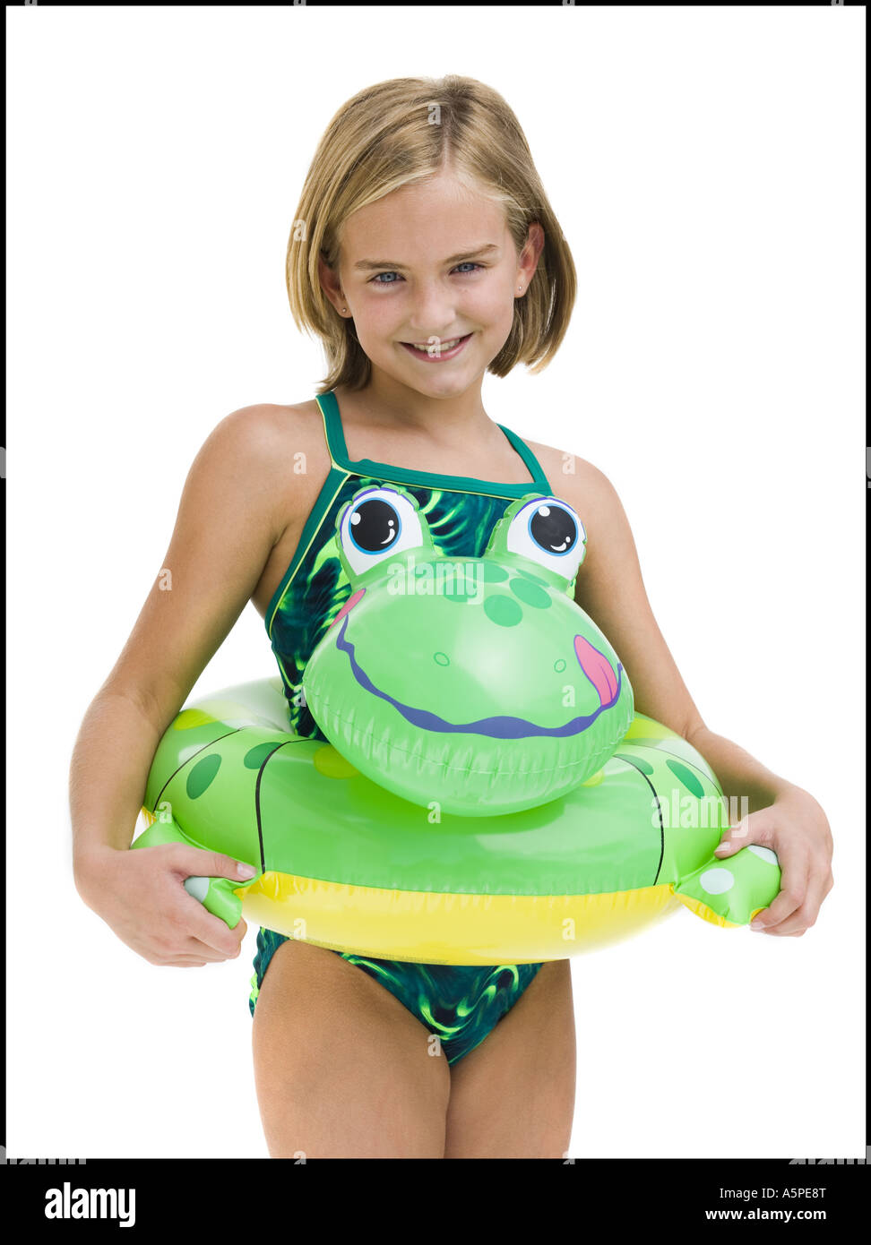 Girl in bathing suit with swim ring Stock Photo