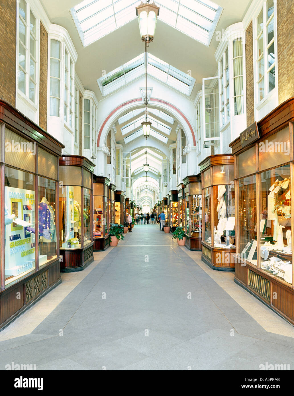 The Burlington Arcade which runs off Picadilly in London. Stock Photo