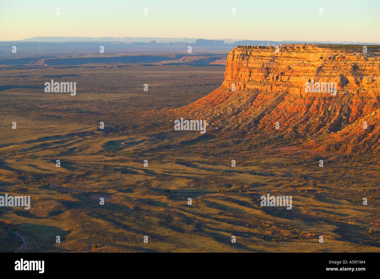 overview of southwestern desert buttes and mountains at sunrise, outside Bluff,Utah - Stock Image