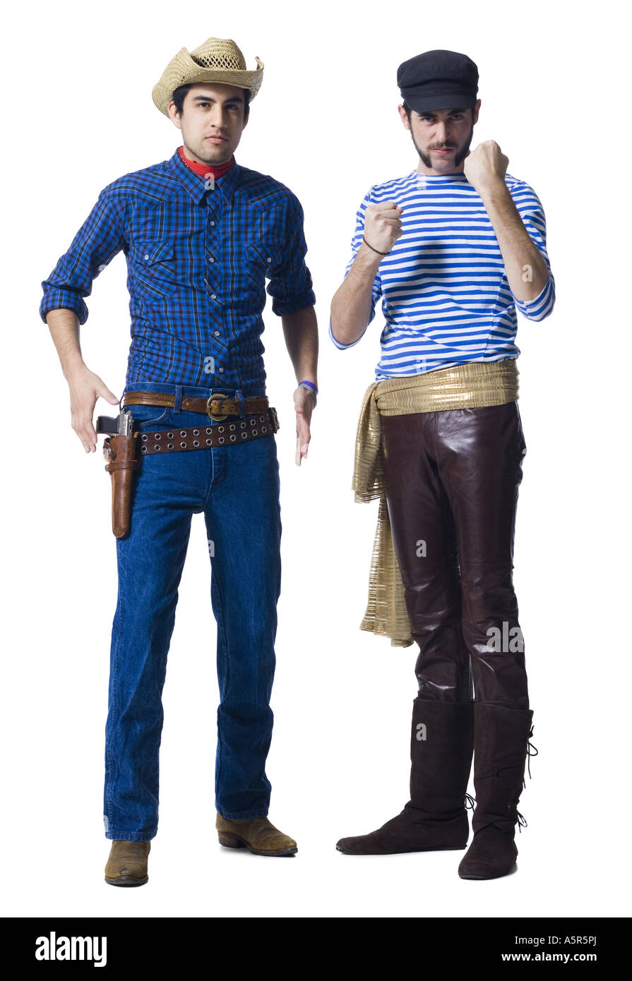Man In Cowboy Costume And Man With Leather Pants And Waist Sash With
