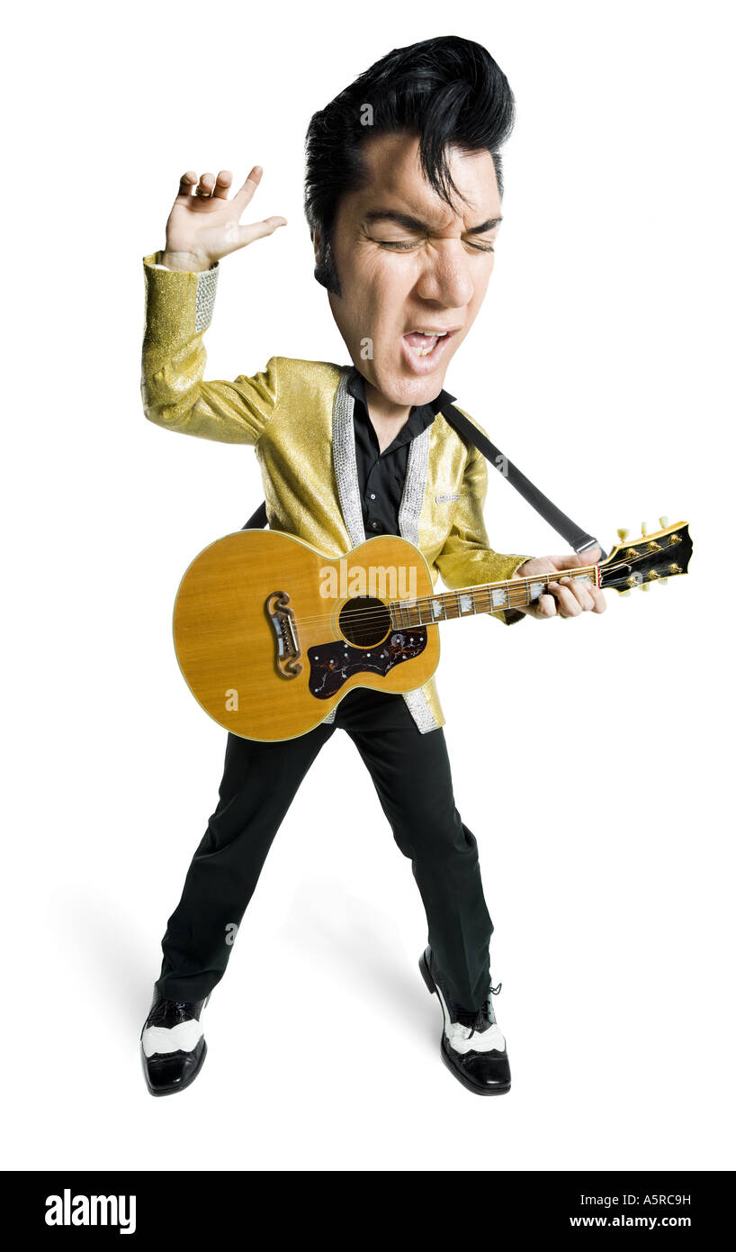 Caricature of an Elvis impersonator holding a guitar and singing - Stock Image
