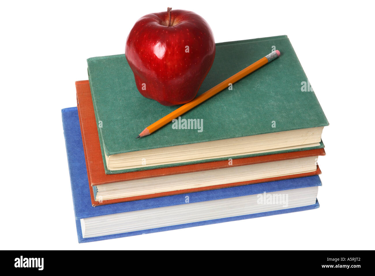 school books red apple and pencil stock photo 6499585 alamy
