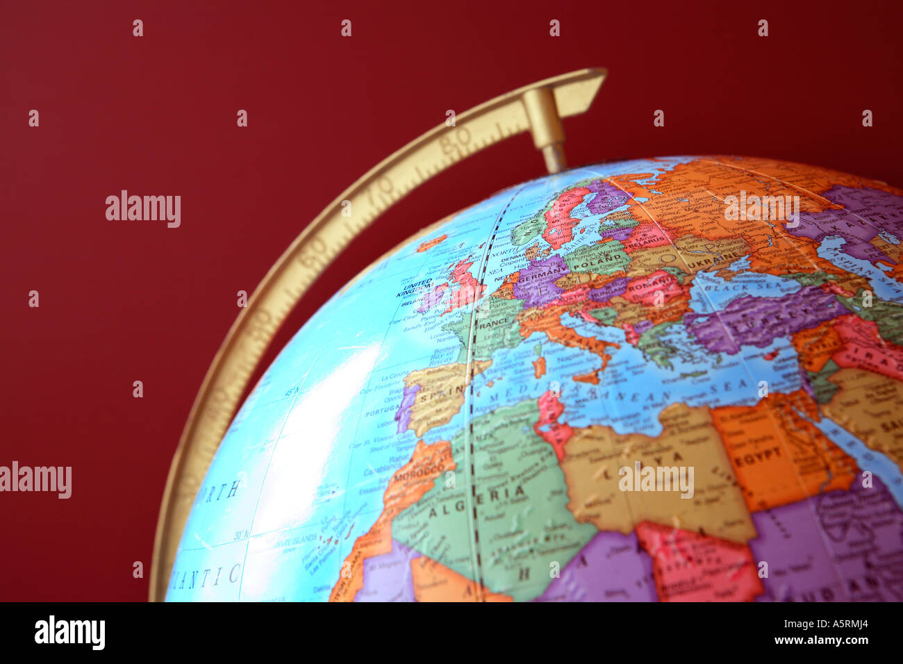 Globe with Europe an Africa visible - Stock Image