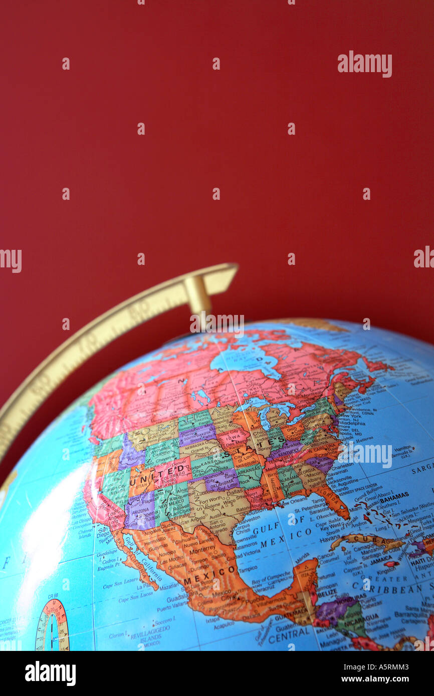Globe with North America visible - Stock Image