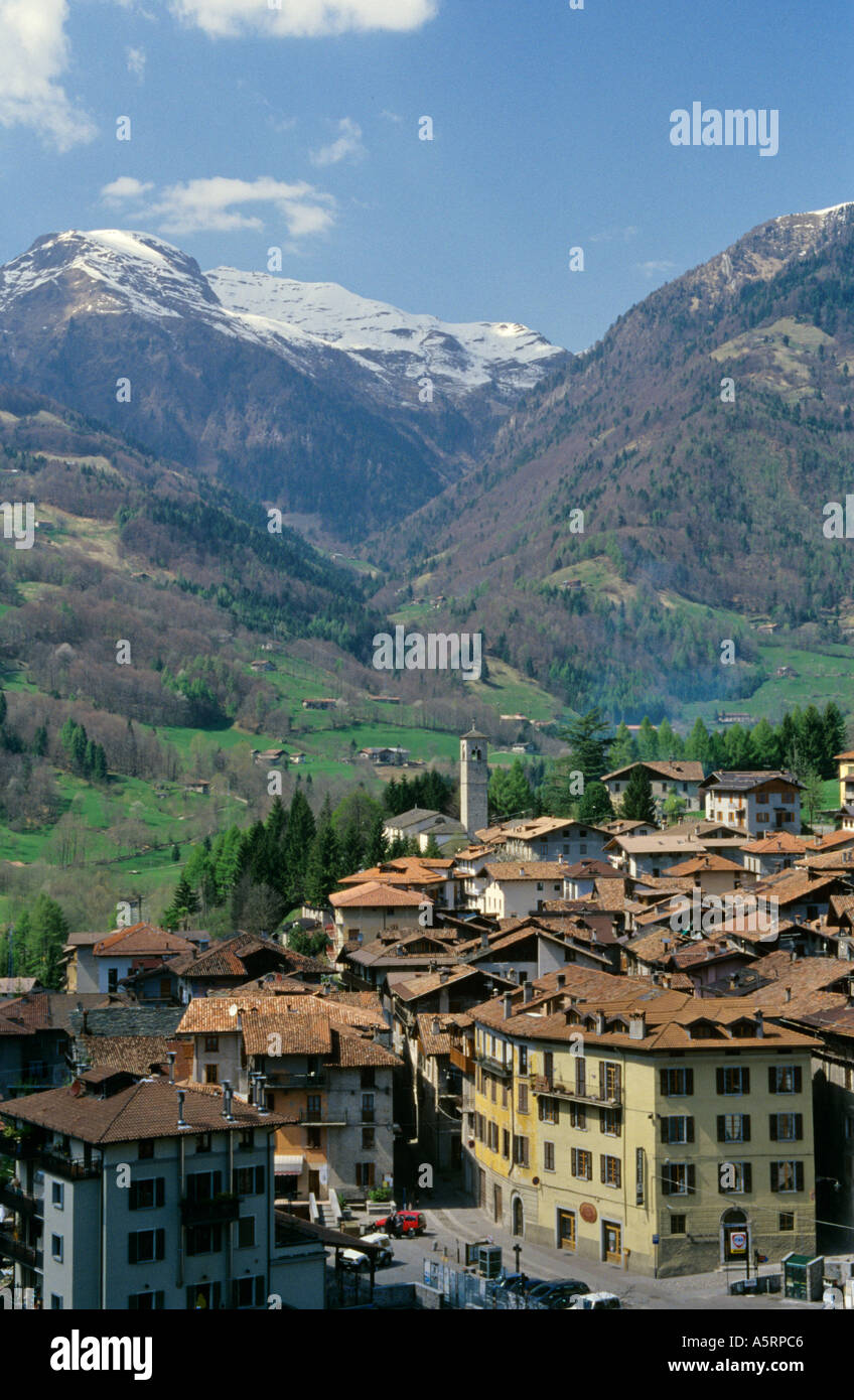historic center of town Bagolino in Italy - Stock Image