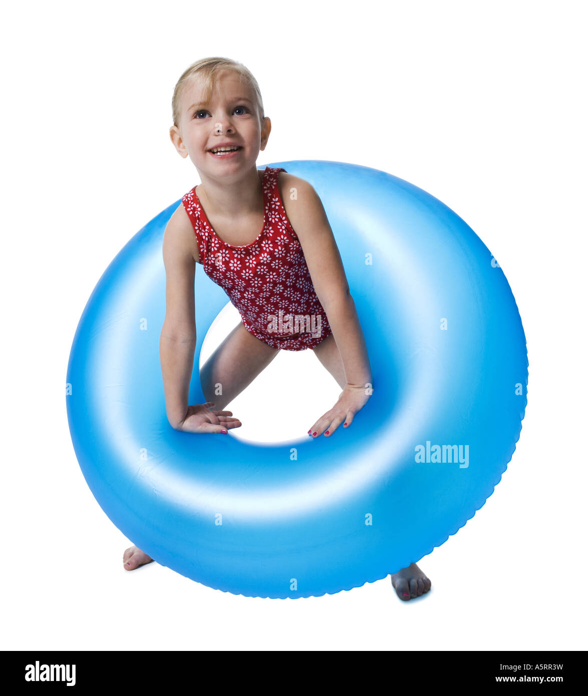 Young girl with inflatable ring Stock Photo