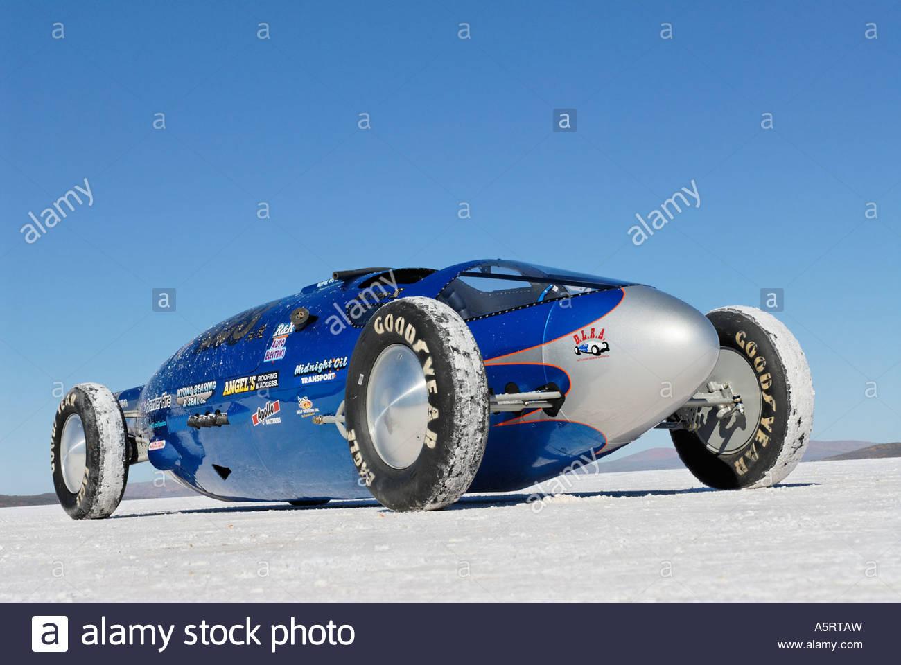 bellytank lakester racecar on the 'salt lake' Gairdner - Stock Image