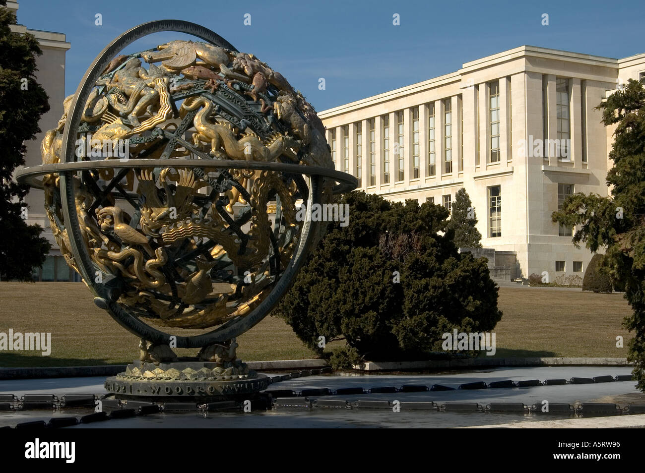 United Nations Organization Geneva Wilson globe UNOG Switzerland Stock Photo