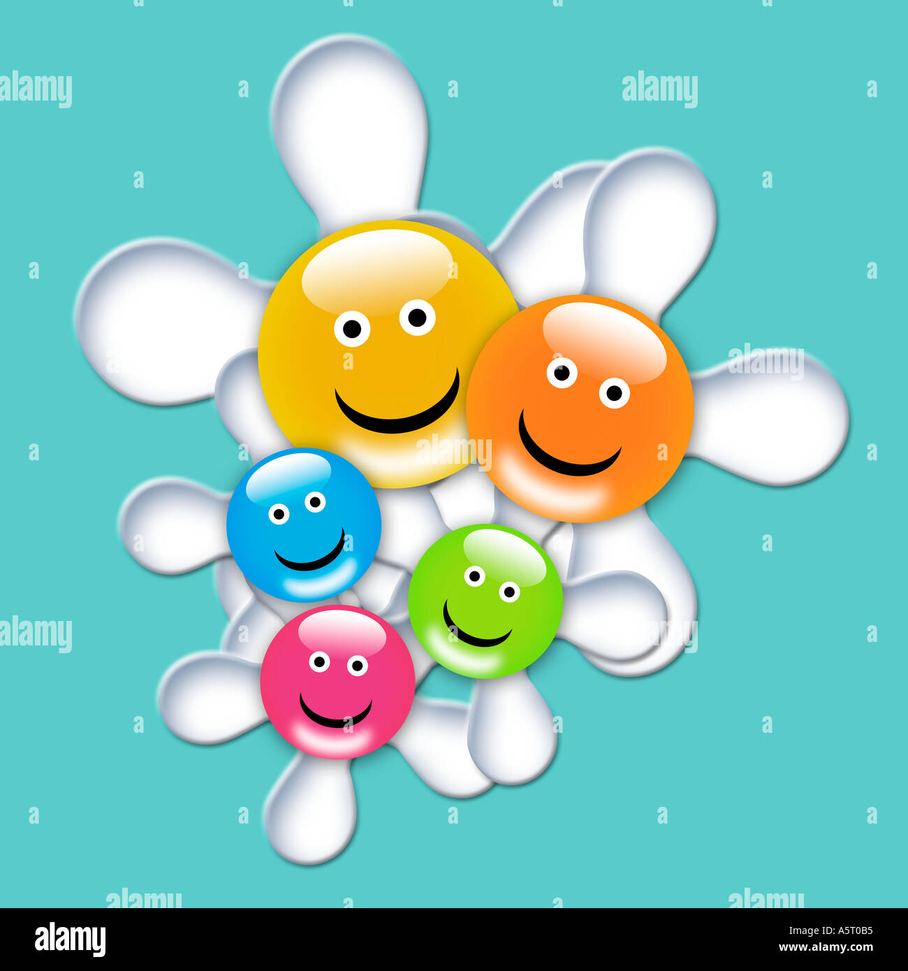 Smile flowers kids illustrations - Stock Image