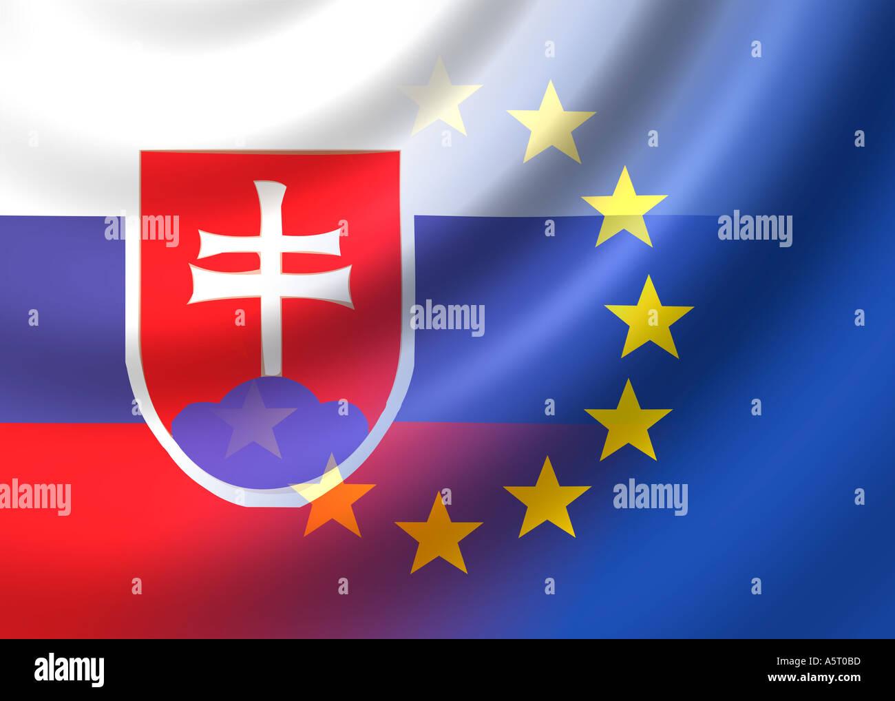 337c80dbc3 Flag of Slovakia and EU flag european union Stock Photo  2113724 - Alamy