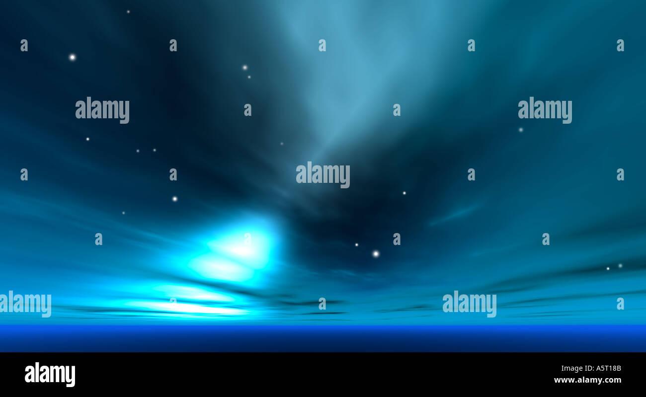Cosmic landscape - Stock Image