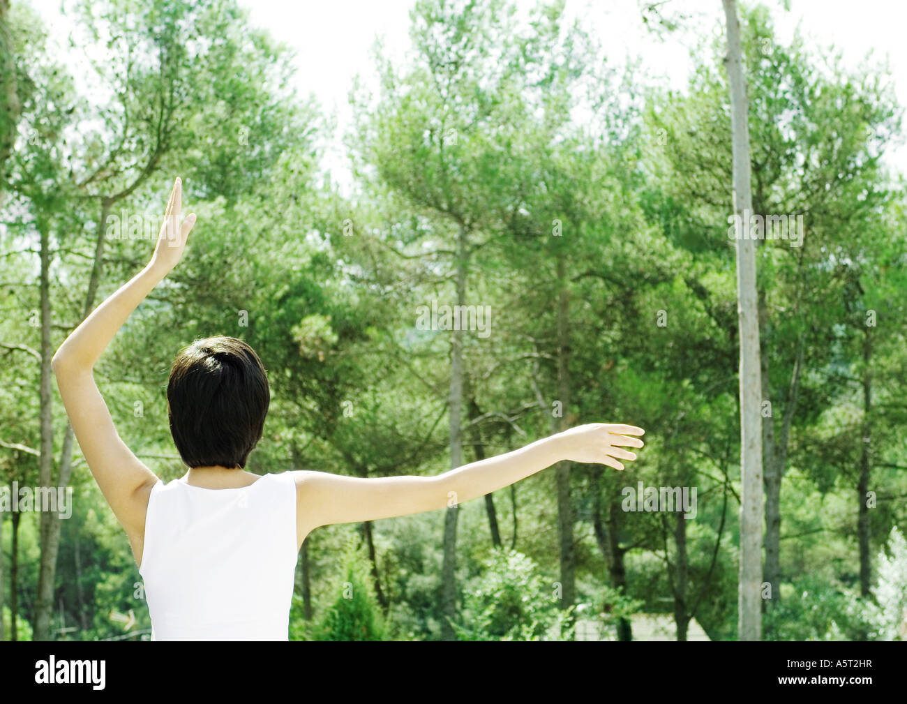 Woman standing, facing trees, one arm up, the other arm out - Stock Image