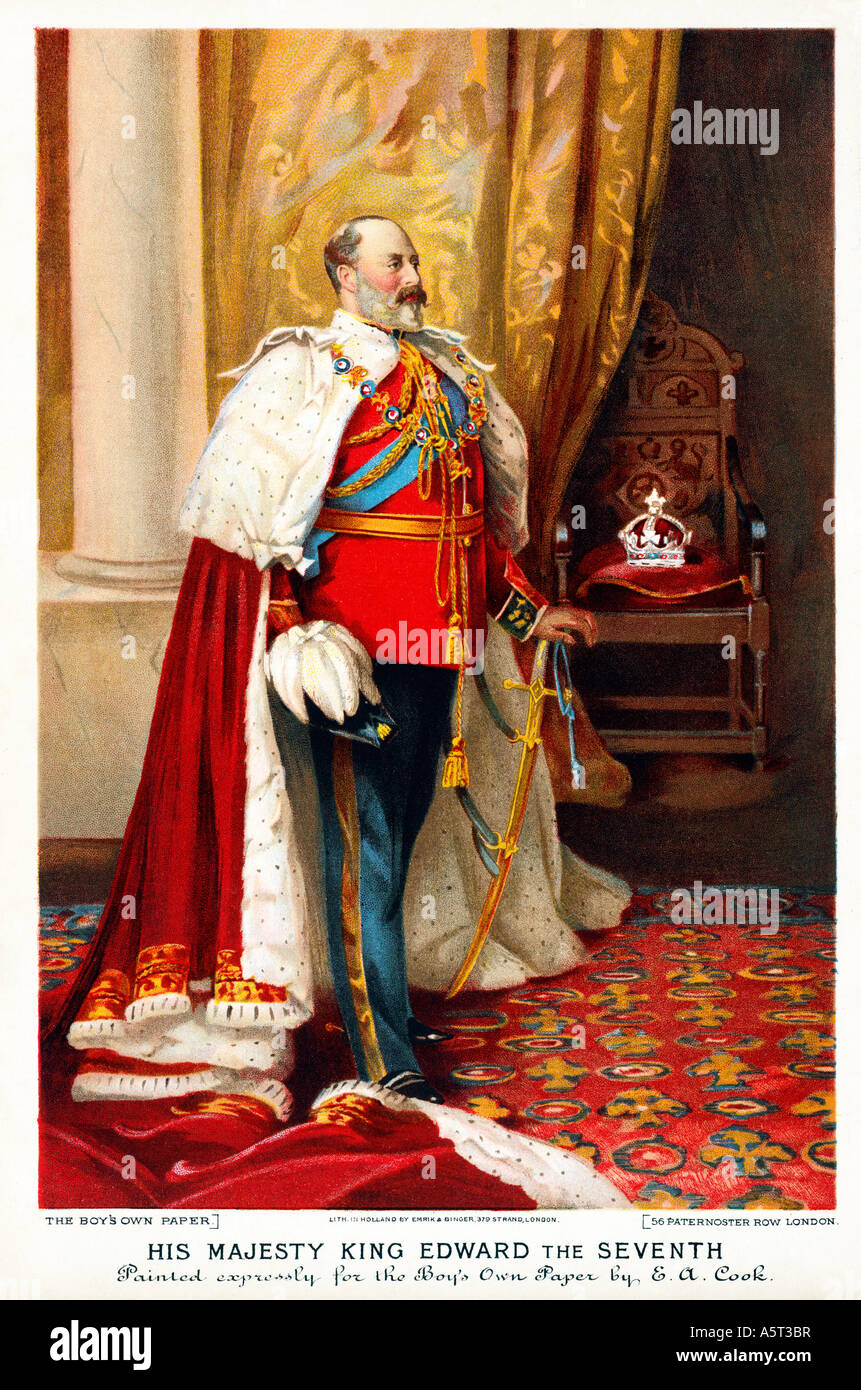 Edward VII, 1902 portrait of the King and Emperor magnificent in his coronation robes painted in by EA Cook - Stock Image