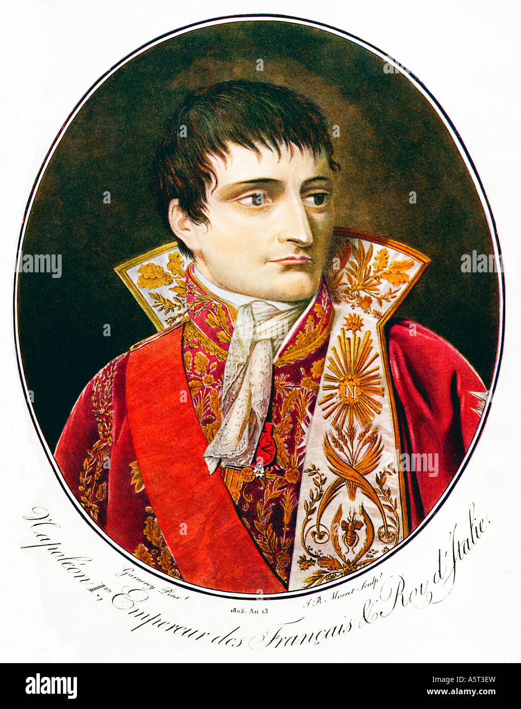 Napoleon 1er Empereur des Francais a portrait by JB Morret after Garnerey from Bonapartes coronation year of 1805 - Stock Image