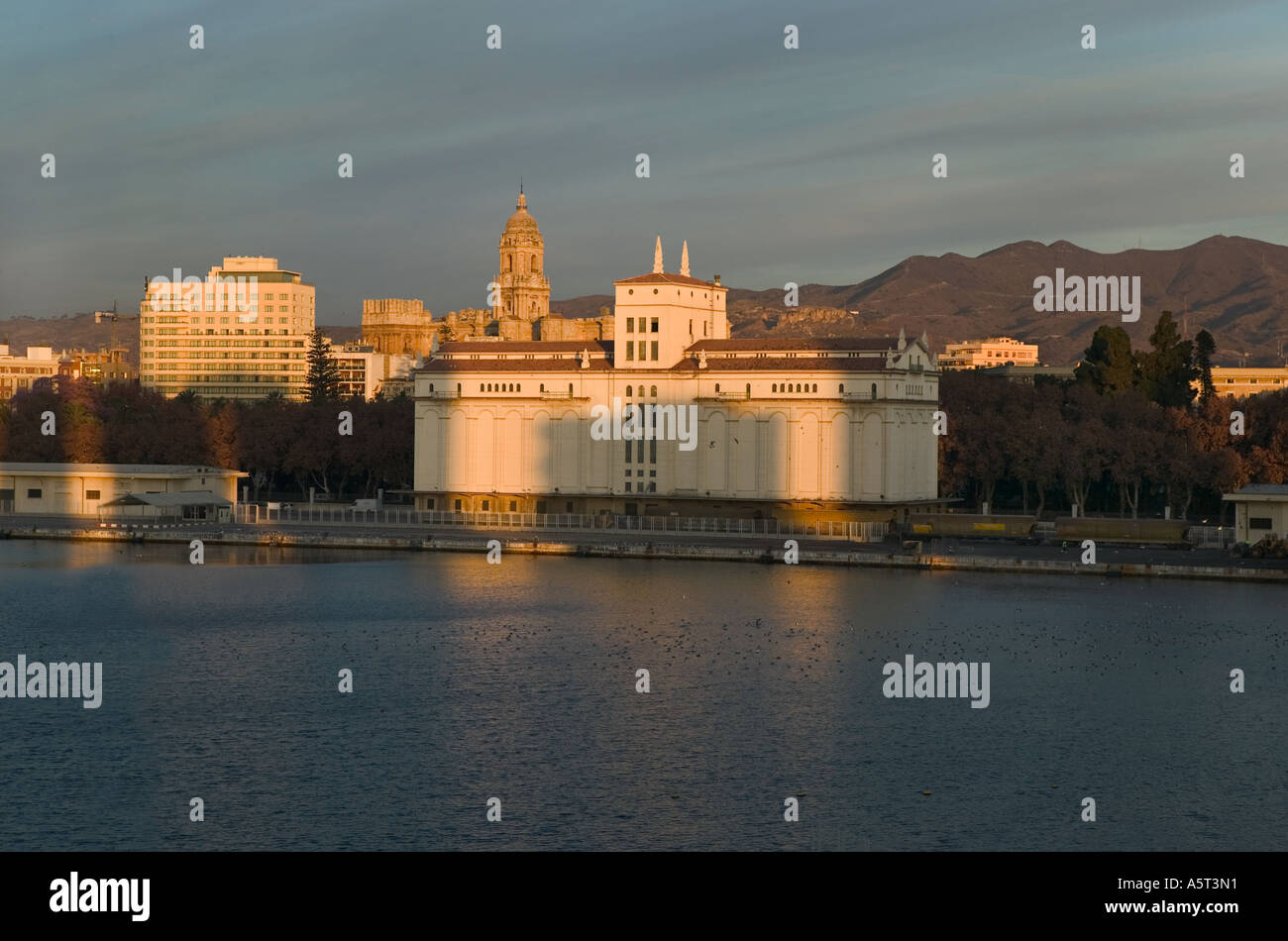 The grain silo, now demolished, which was a landmark in Malaga Harbour - Stock Image