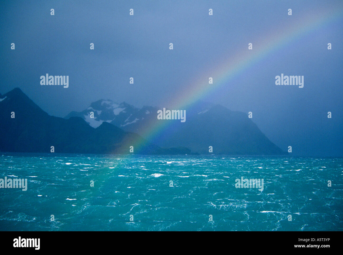 Rainbow over South Georgia Island Subantarctic - Stock Image
