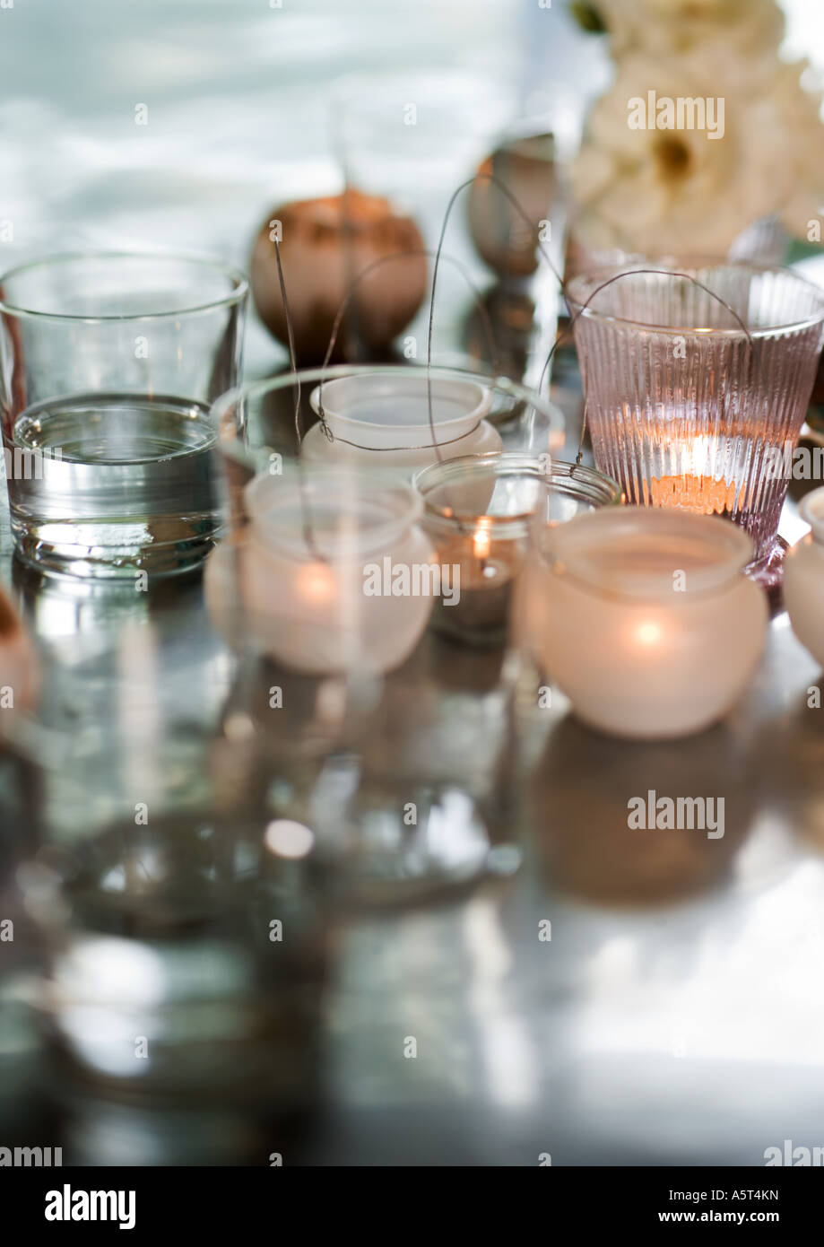 Candles in candleholders - Stock Image
