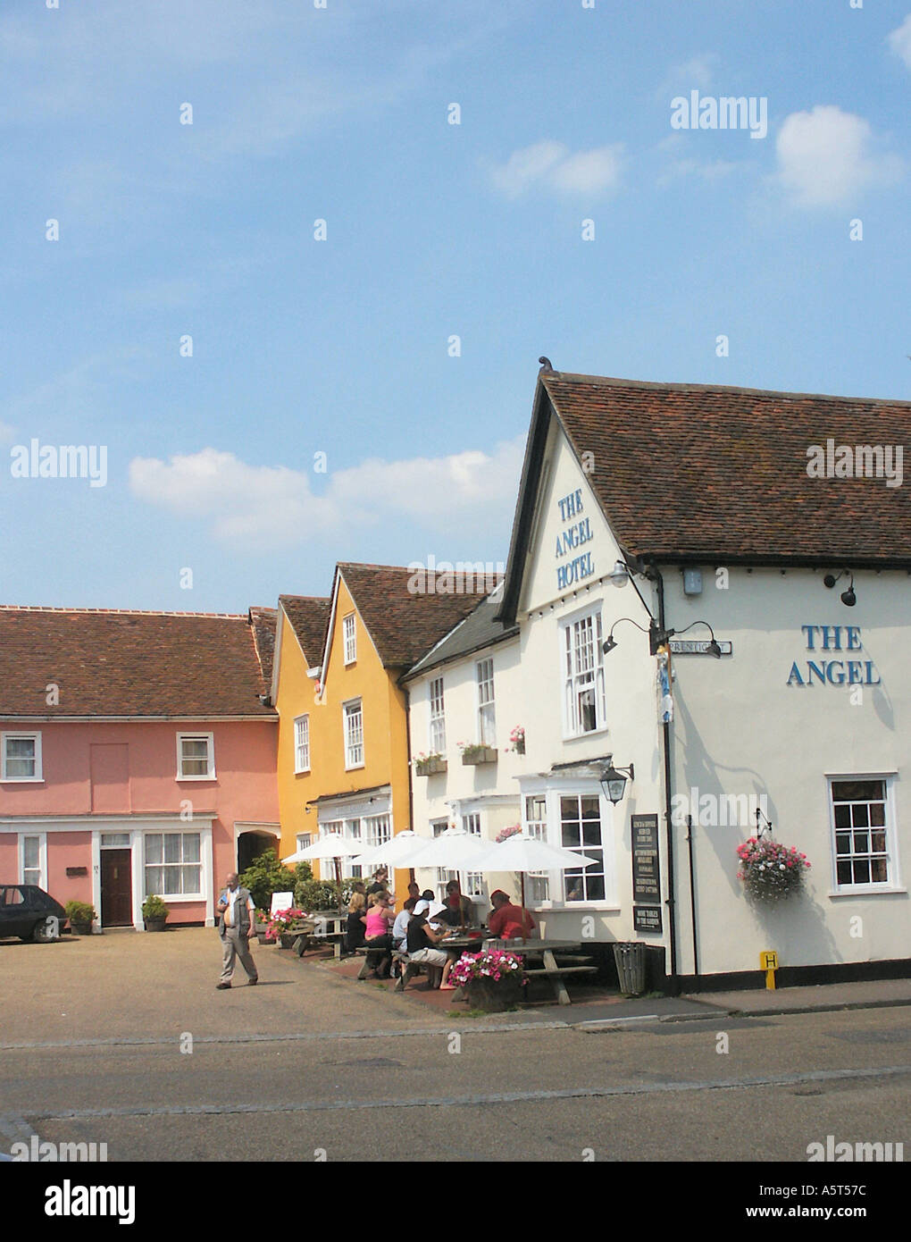The Angel Inn and Market Place Lavenham Suffolk England Stock Photo