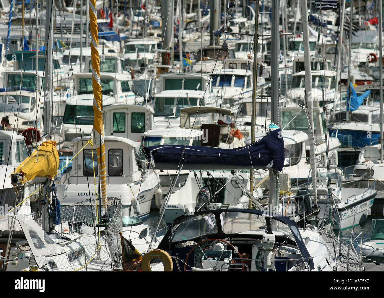 Boats in marina, full frame - Stock Image