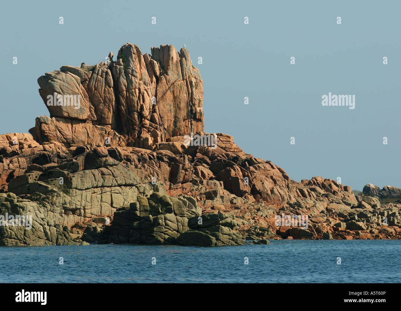 Ile de Brehat, Brittany, France, coastal rock formations - Stock Image