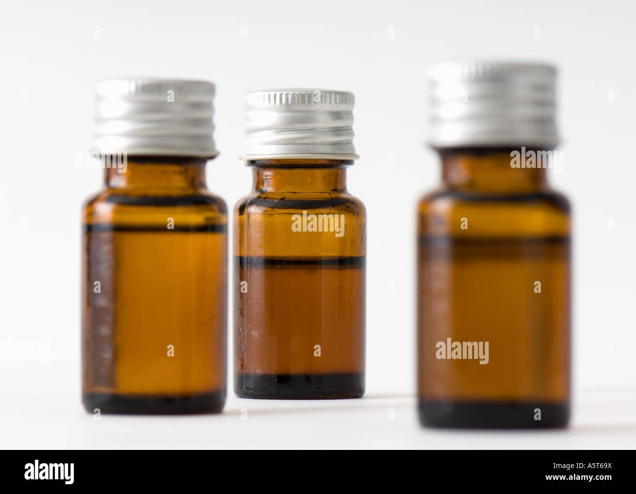 Bottles of essential oils - Stock Image