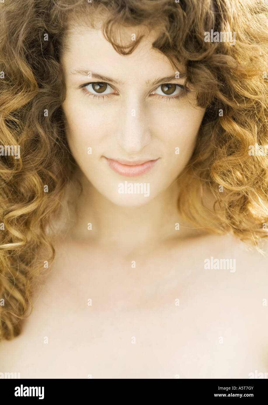 Woman, head and shoulders, close-up - Stock Image