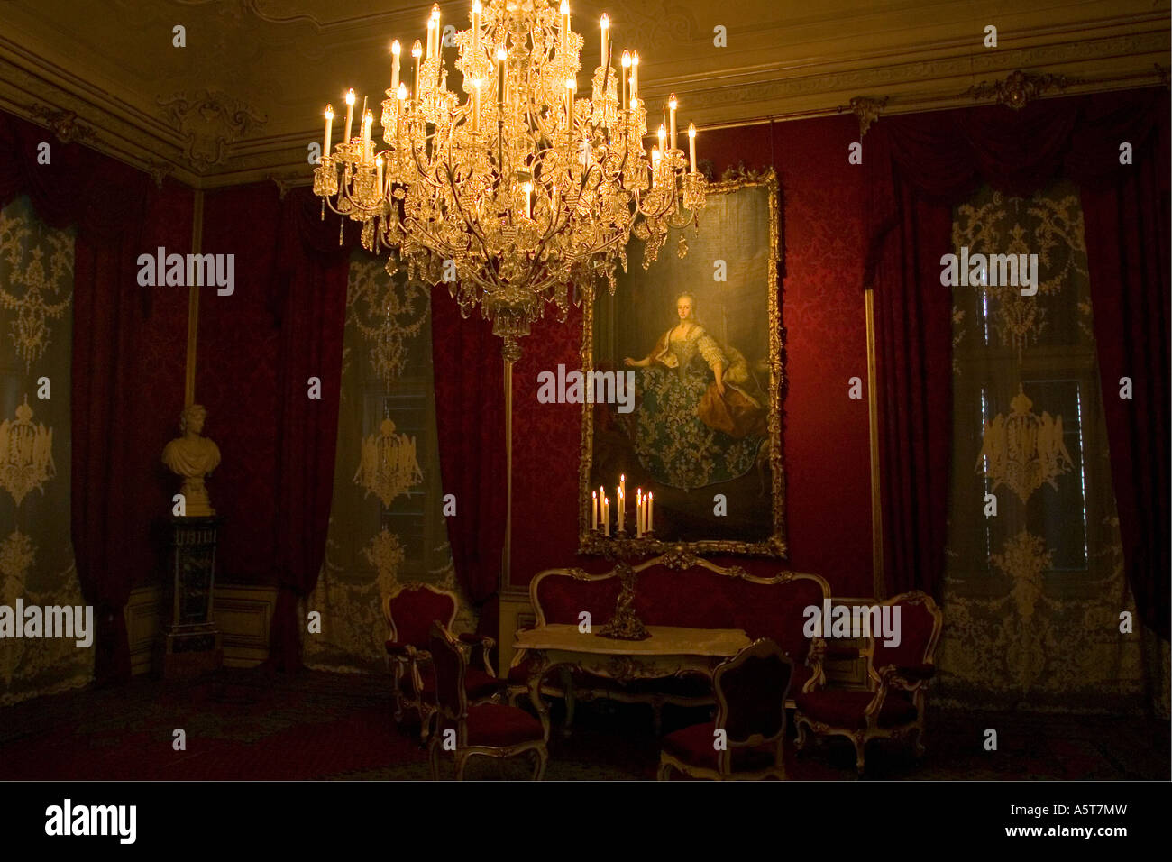 Portrait Of Marie Antoinette With Chandalier And Furniture Interior Of  Schonbrunn Palace Vienna Austria Europe