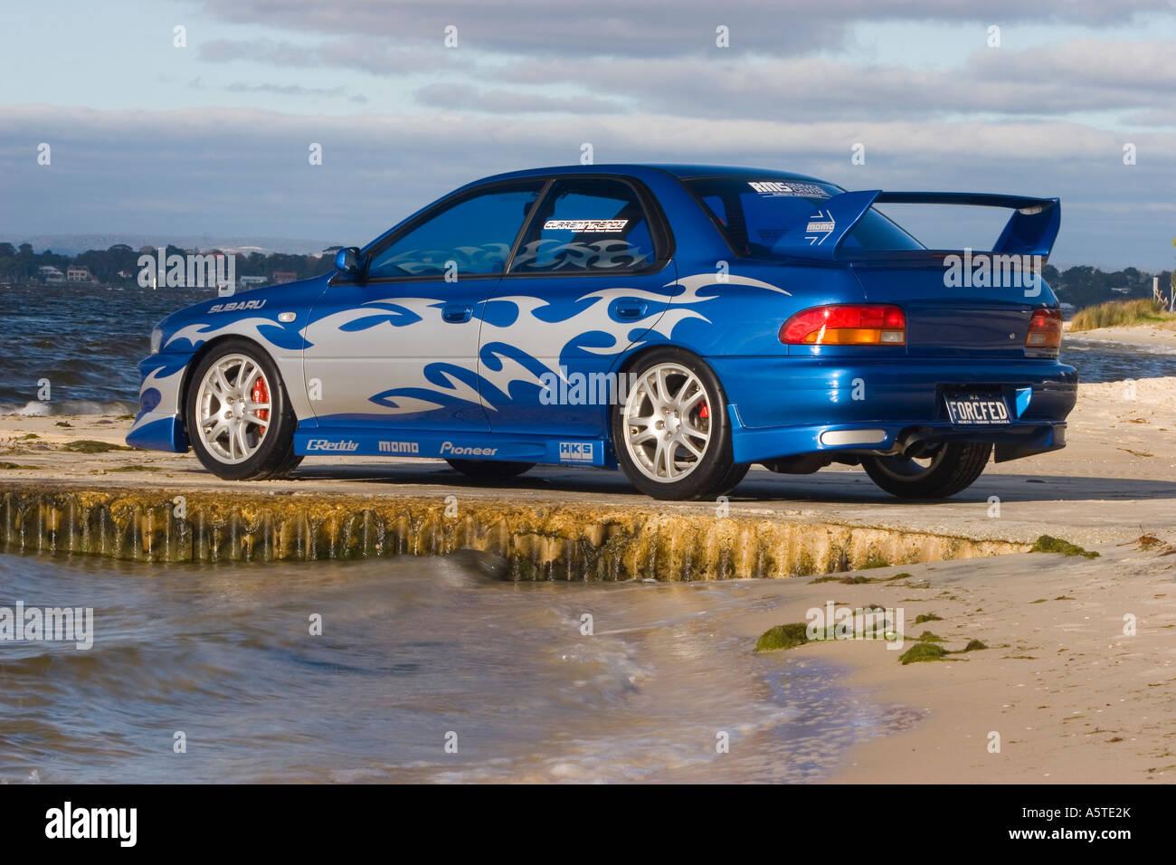 Modified Performance Subaru Wrx Japanese Sports Car Sitting On A