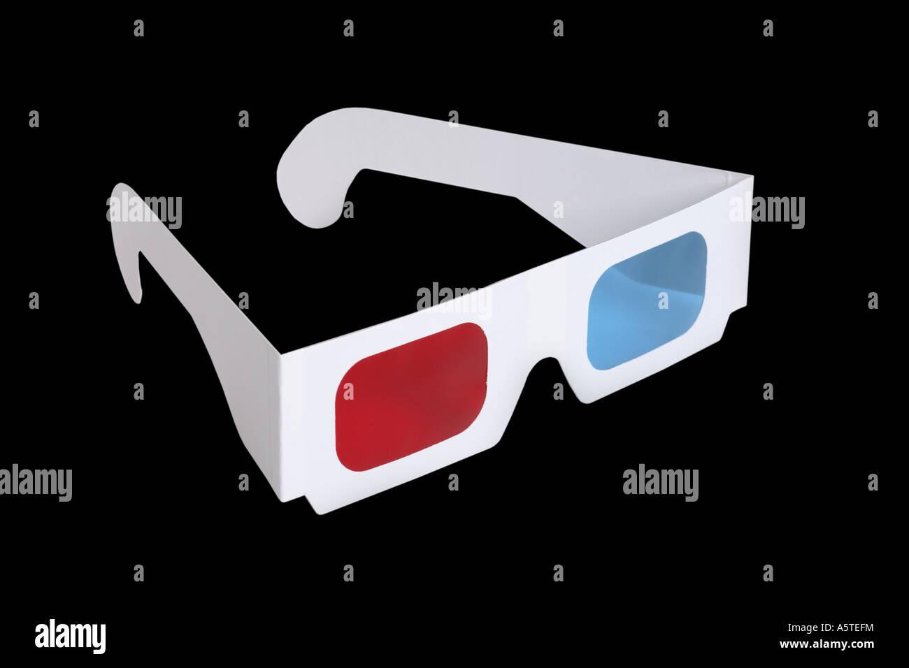 3-D glasses on black background - Stock Image