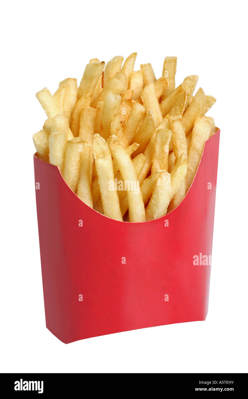 Fast Food French Fries cut out on white background - Stock Image