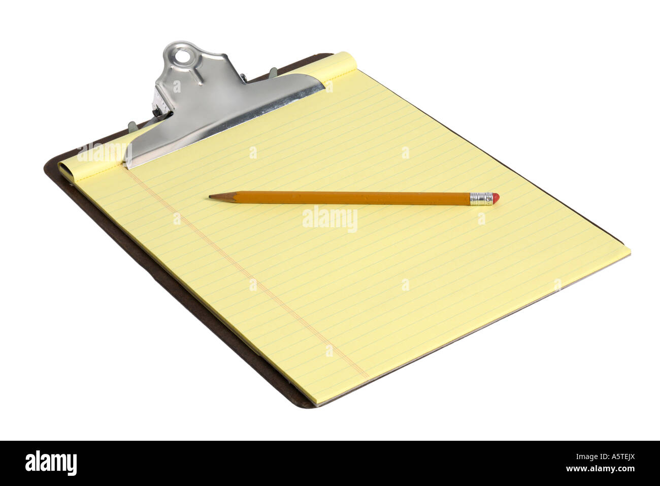Clipboard with yellow paper and pencil cut out on white background - Stock Image