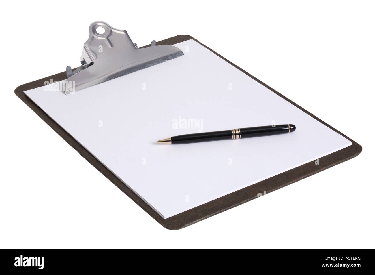 Clipboard with Paper and Pen cut out on white background - Stock Image