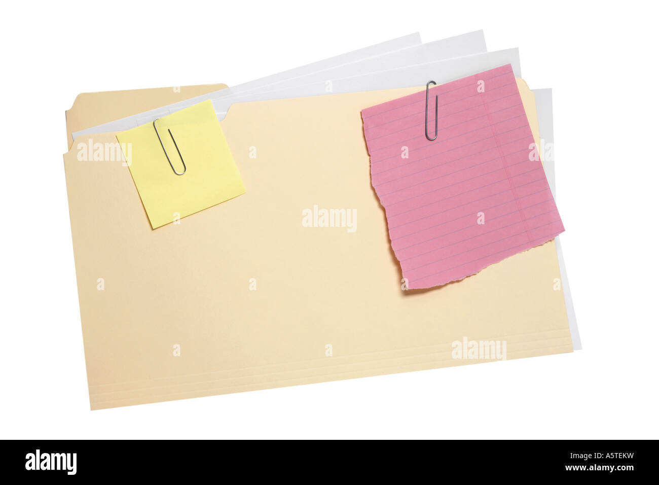 File Folder with notes cut out on white background - Stock Image