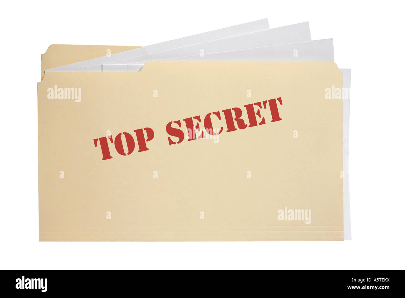 Top Secret File cut out on white background - Stock Image