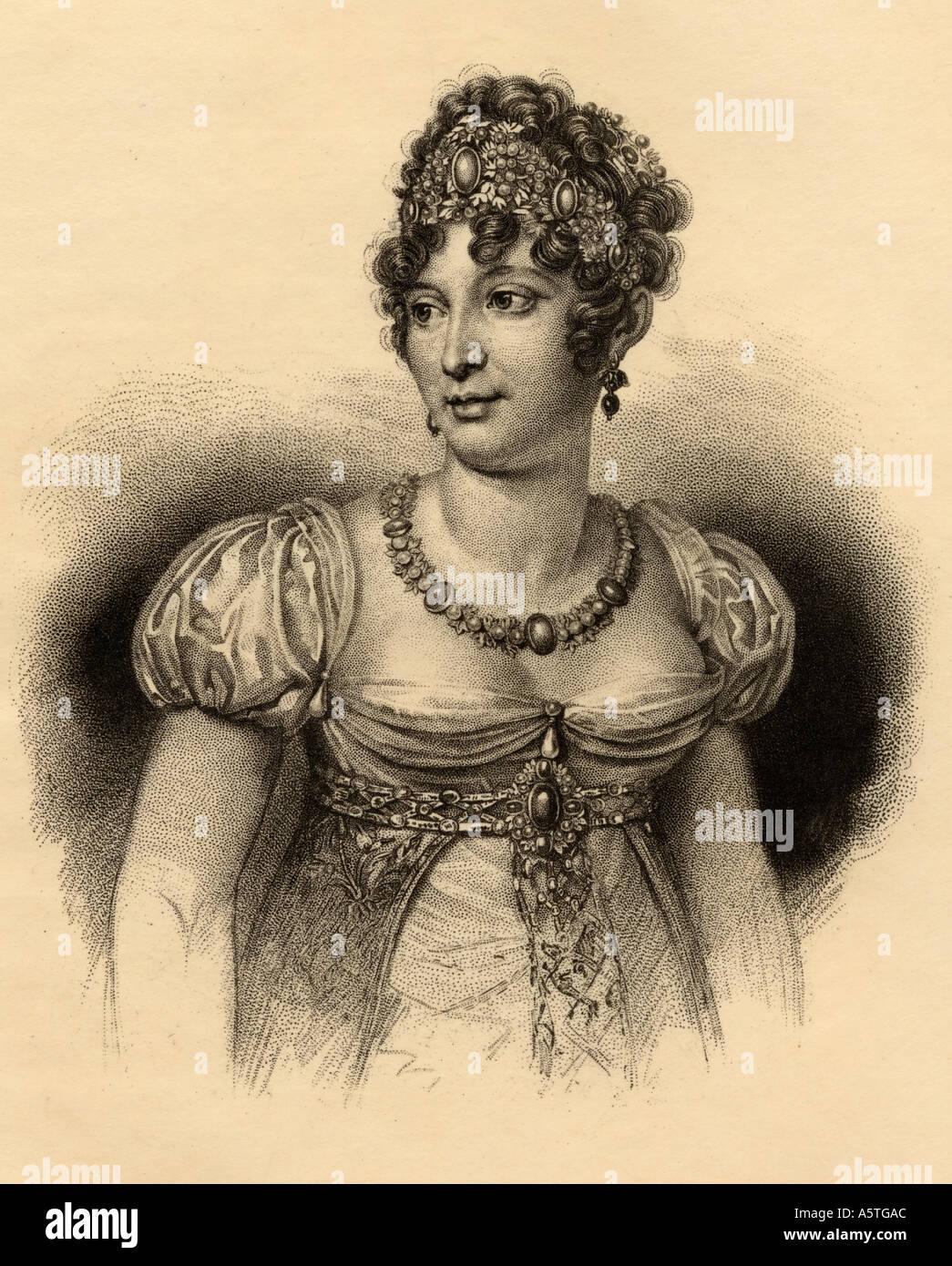 Maria Annunziata Carolina Murat, aka Caroline Bonaparte, 1782 - 1839.  Queen consort of Naples.  Sister of Napoleón. - Stock Image