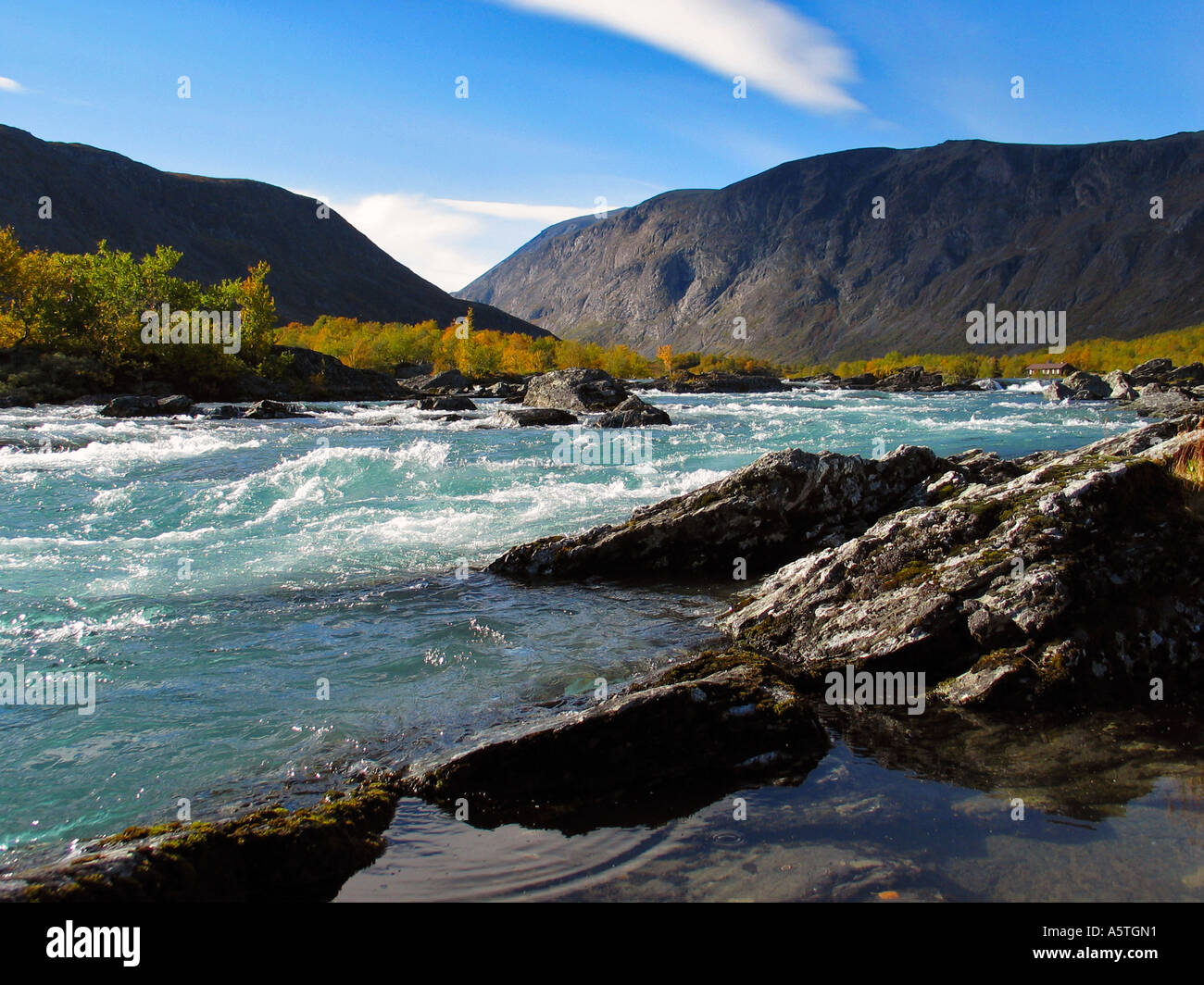 Wild river running through green valley during Indian summer Jotunheimen Norway - Stock Image