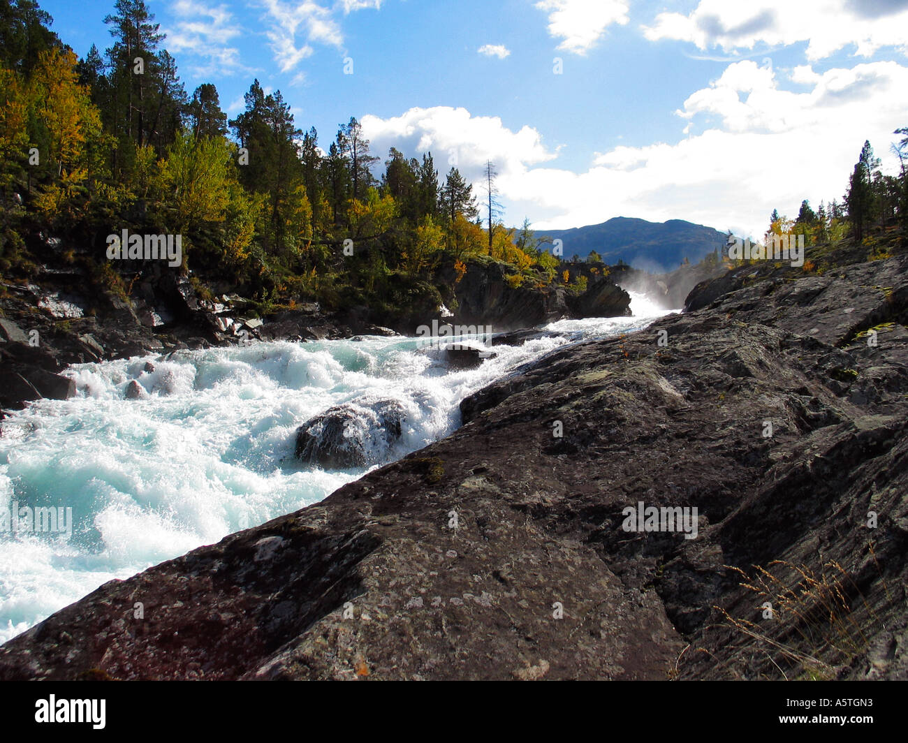 Extreme white water river in Jotunheimen Norway - Stock Image